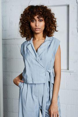 overslag top met strepen dessin en lurex glitters allyson blouse nywbl230
