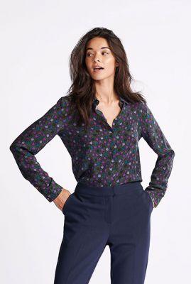 katoenen blouse met sterren dessin starry night violet sp6321