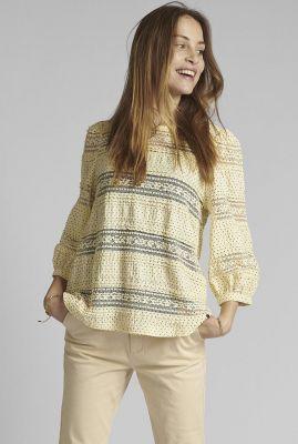 ecru kleurige top met stippen dessin nucapella blouse 700483