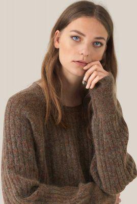 zachte bruine trui van mohair wolmix brook knit o-neck