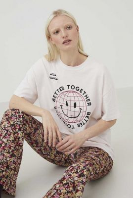 heel licht roze oversized t-shirt met smiley opdruk ts grid smiley