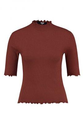 roest kleurig t-shirt met rib dessin ts kate