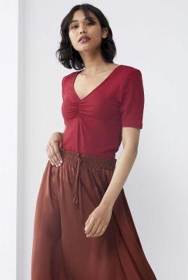 donker rood t-shirt met rib dessin ts luna rhubarb