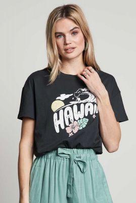 antraciet t-shirt van biologisch katoen met opdruk ts mahalo