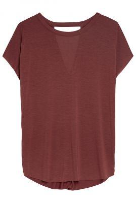 brique kleurig shirt van zachte modalmix ts mara
