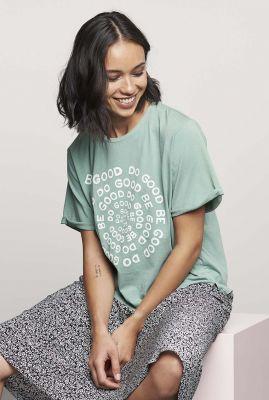 licht groen t-shirt met ronde hals en lichte opdruk ts twister