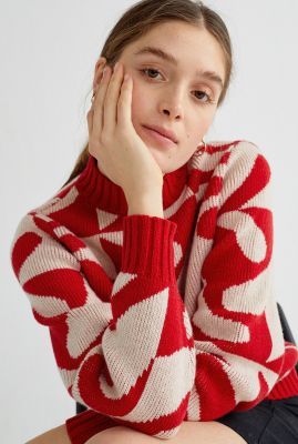 rode trui van wol met grafische print zabawa red ops wkn00058