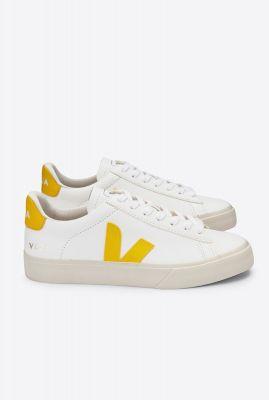 witte leren sneakers met gele details campo white tonic cp052290