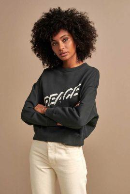 grijze sweater van katoen met tekst opdruk viane t1433p