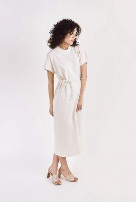 off white maxi t-shirt jurk met ceintuur viola t-shirt dress