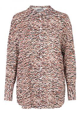 Donker roze blouse met gekleurde all-over print virginia shirt