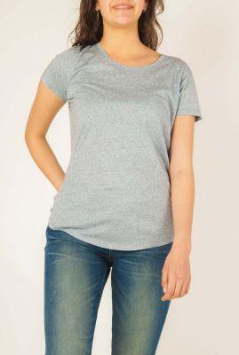grijs basis t-shirt pure met geborduurd logo  w-js018