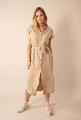 beige jurk van linnenmix met ceintuur w20f798lab