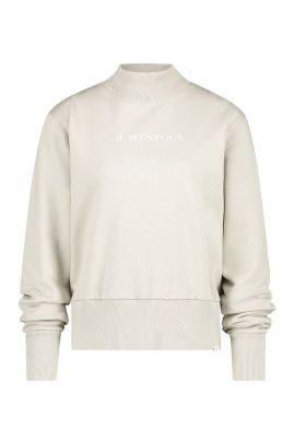 crème kleurige sweater met brede boorden w20t470