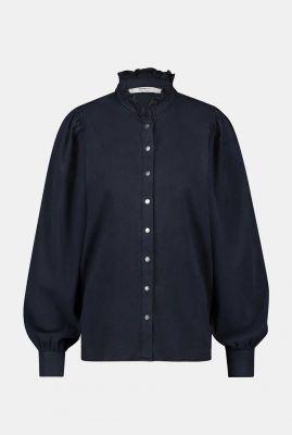 blouse met drukknopen en ruches kraag w20w280
