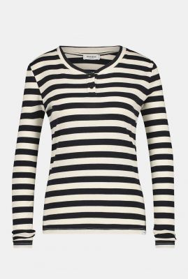 zwart wit gestreept shirt met knoop details w21t667