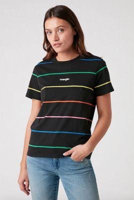 zwart t-shirt met gekleurde strepen rib tee W7N9GHZ01