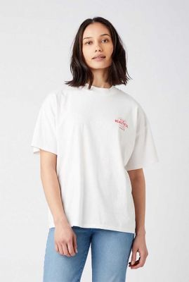wit t-shirt met rode opdruk high rib girlfriend tee W7Q9GHP35