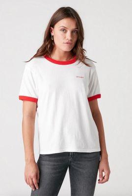 wit t-shirt met rood logo relaxed ringer tee W7S0DRR06