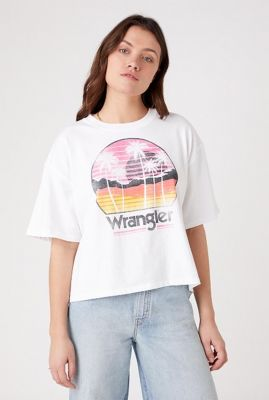 wit boxy t-shirt met palmbomen print boxy tee W7S2GF989