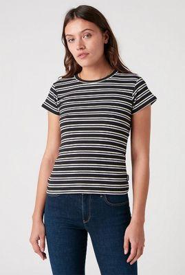 zwart rib t-shirt met strepen dessin slim stripe W7S3DGXV6