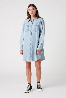 lichte denim blouse jurk western dress W9P6LWX4E