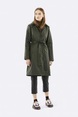 lichtgewatteerde regenjas trench coat met ceintuur 1513 green