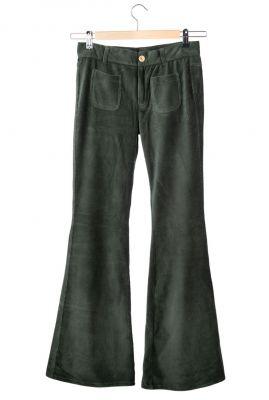 donker groene corduroy flared broek adult flared pants bonnie