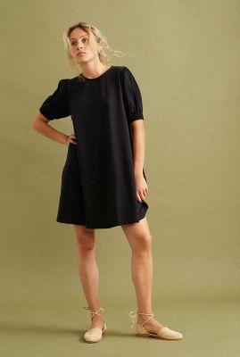 zwarte jurk met korte pofmouw floreta wdr00084