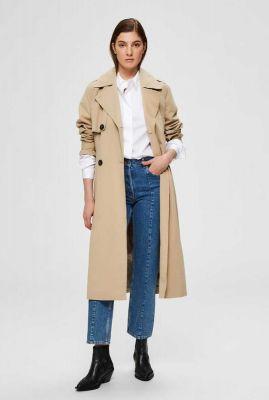 beige jas van biologisch katoen met ceintuur weeky trenchcoat 16072177