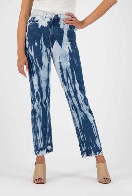 straight fit jeans met tie-dye print relax rose sun stripe