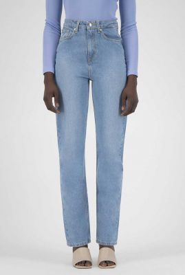 high waist straight jeans relax rose heavy stone