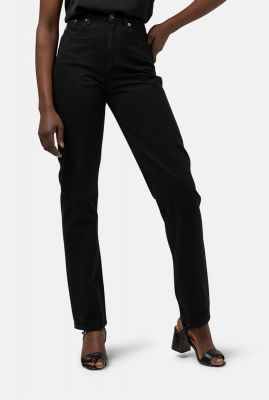 duurzame zwarte high waist 5-pocket jeans met straight fit relax black