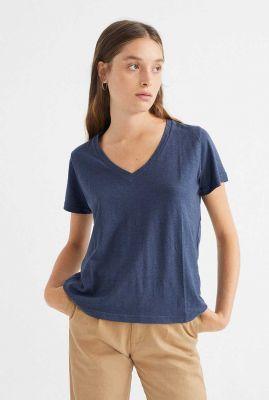 donkerblauw t-shirt met v-hals clavel t-shirt wts00210