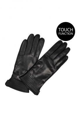 zwart leren handschoenen met touch functie yola glove black