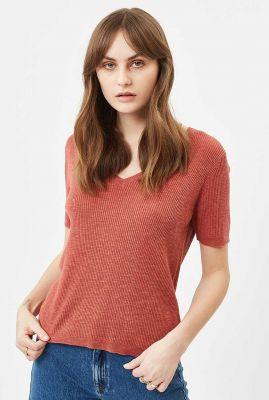 donker rood katoenmix t-shirt met rib dessin zaryna jumper 7033