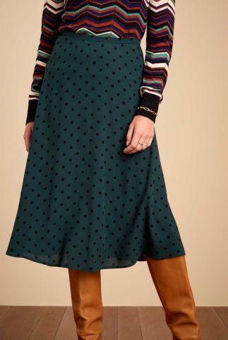 donker groene rok met stippen dessin juno skirt pablo 04682