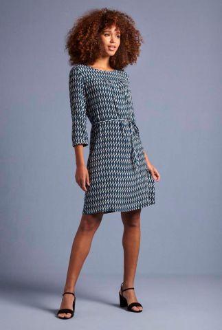blauwe viscose jurk met grafische print biba dress 04762