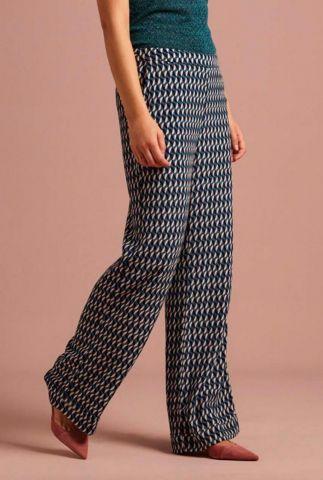 blauwe viscose broek met grafische print en wijde pijpen ethal pants 04763