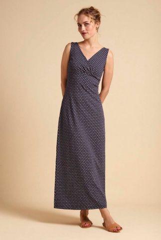 blauwe maxi jurk met witte anker print ginger maxi 04883