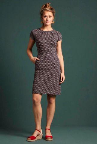 donker blauwe jurk met grafische print mona dress 04954