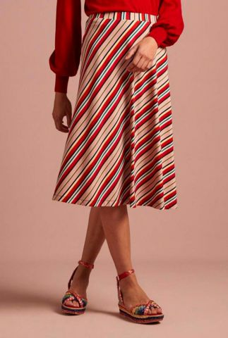 rood roze gestreepte jersey a-lijn rok juno skirt 04977