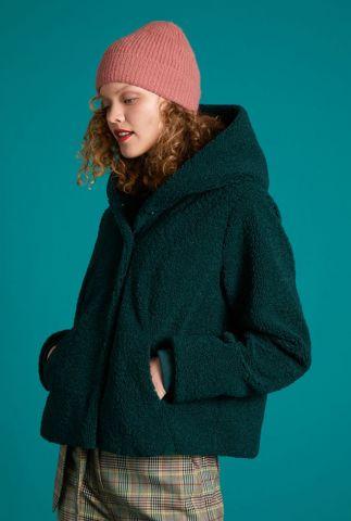 korte donker groene teddy jas met capuchon judy coat murphy 05337