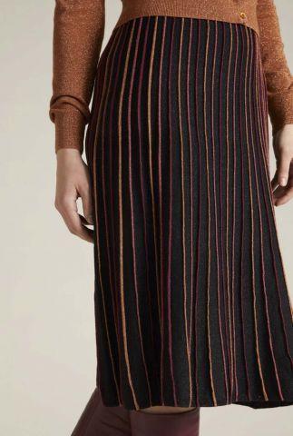 zwarte midi rok met glitter strepen pintuck skirt 05359