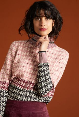 roze knit jacquard trui met dessin rollneck sweater preppy 05362