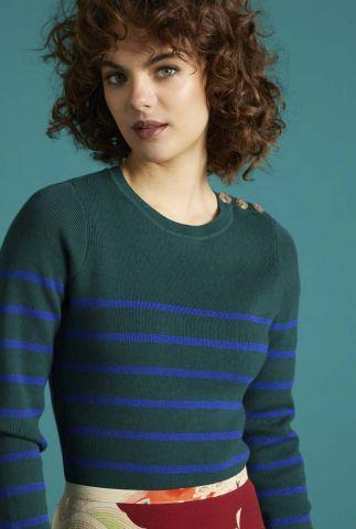 groene trui met blauwe strepen roundneck sweater 05377
