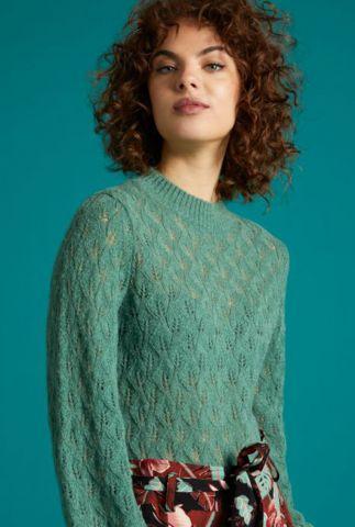 groene trui met ajour details jeannie sweater vallina 05386