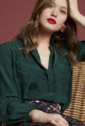 donker groene blouse met geborduurde details carina 05390