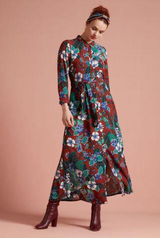 lange gebloemde doorknoop jurk rosie dress maxi 05432