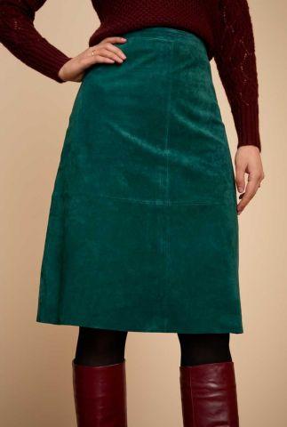 midi groene suède rok met ritssluiting juno skirt 05553